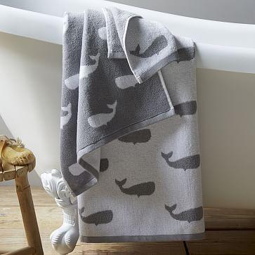 Whale Jacquard Towels #westelm $24 http://www.westelm.com/products/whale-jacquard-towel-b1538/?pkey=cbathroom-furniture-accessories&cm_src=bathroom-furniture-accessories  NoFacet-_-NoFacet-_--_-