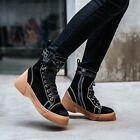 Fashion Damenschuhe Ankle Boots Flach Reißverschluß Schnürschuhe Punk Komfort…