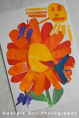 "Fun art project for Spring.  Goes great with the Eric Carle book, ""The Tiny Seed""."