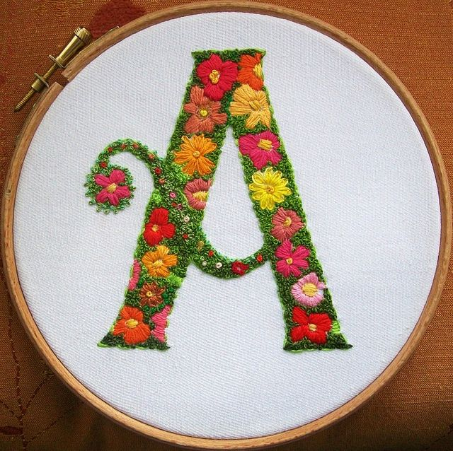 A by dozydotes, via FlickrFlickr, Crafts Ideas, Embroidery Alphabet, Hoop Art, Christmas Stockings, Embroidery Letters On Crochet, Crosses Stitches, French Knots, Photos Shared