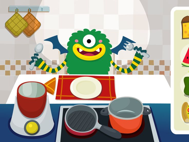 MY PRESCHOOL MONSTERS (KITCHEN) - Mobile Game for preschool kids. Play with these funny monsters!! Available in the Kurio App Store.