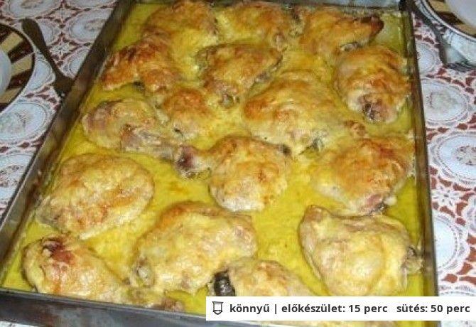 Mustáros-fokhagymás mártásban sült csirkecombok