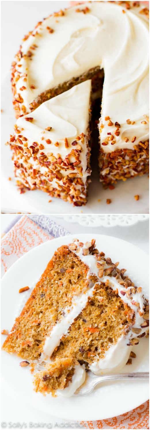 Simple and moist two-layer carrot cake with pecans and cream cheese frosting.