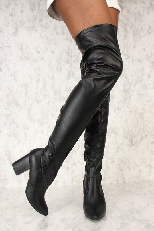 9bb204815a9 Sexy Black Pointy Toe Thigh High Chunky Heel Boots Faux Leather