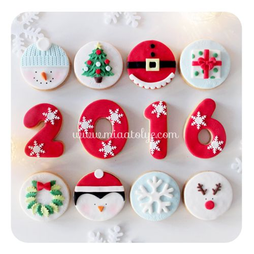 2016 fondant new year cookies