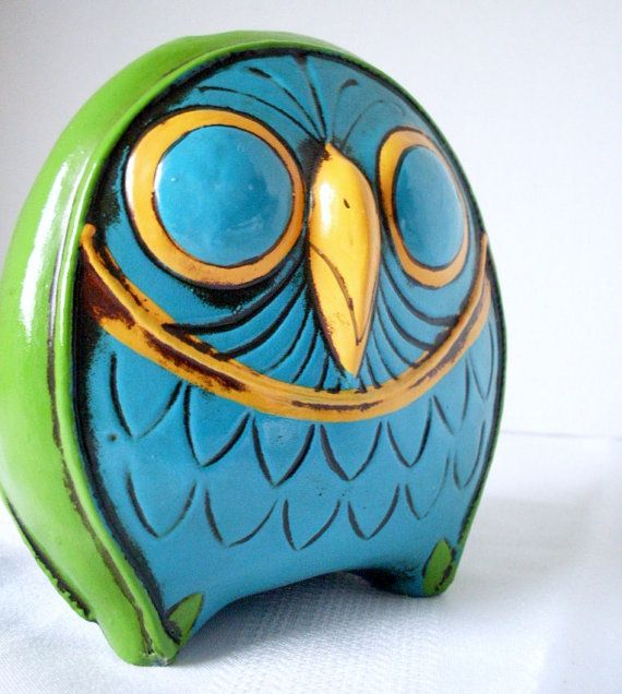 Items similar to Vintage Owl Bank Papier Mache by Pride Creations on Etsy