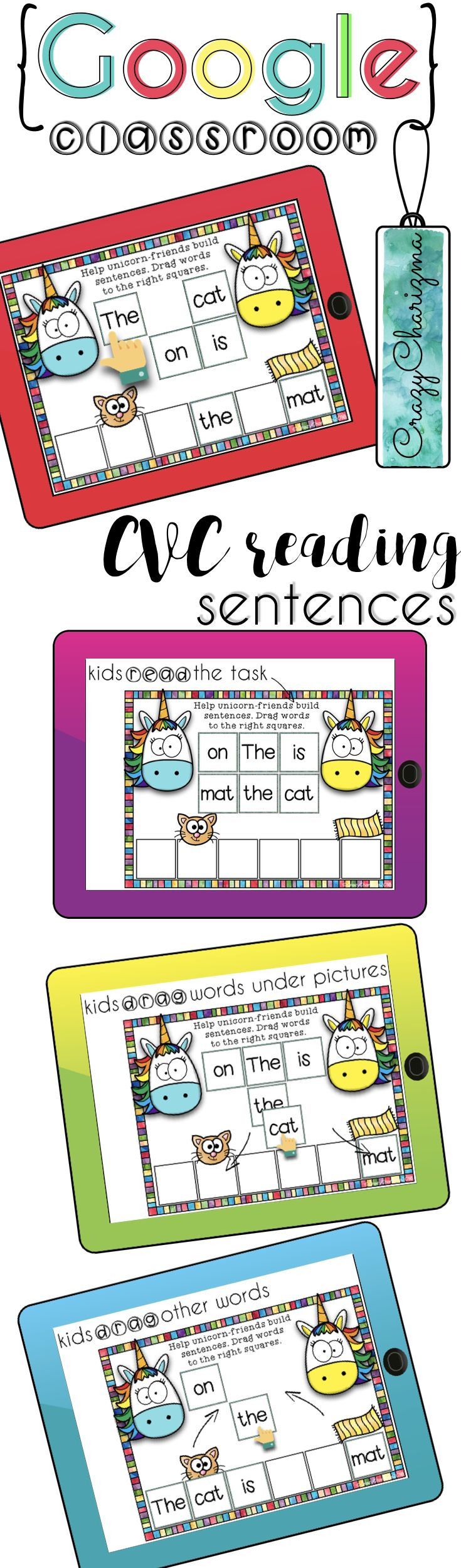Go {Google} now! Would you like to go paperless and engage your kids? Looking for something you can use over and over? Embrace technology - go Google now! Practice CVC words with this digital Unicorn sentences. | CrazyCharizma