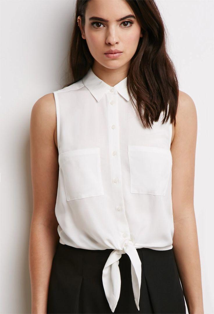Mouwloos Overhemd met Geknoopte Zoom