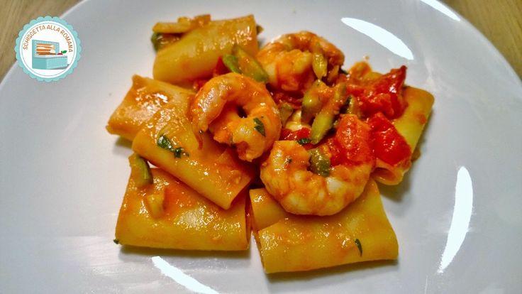 Schiscetta alla romana: Paccheri Mazzancolle Zucchine e Pomodoretti