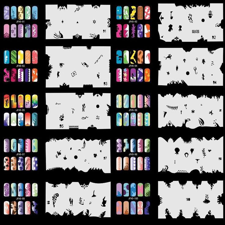 OPHIR 20x Nail Template Sheet Stencils 200 Designs Airbrush Stencils for Nail Art Paint Airbrush Nails Art & Tools _JFH5