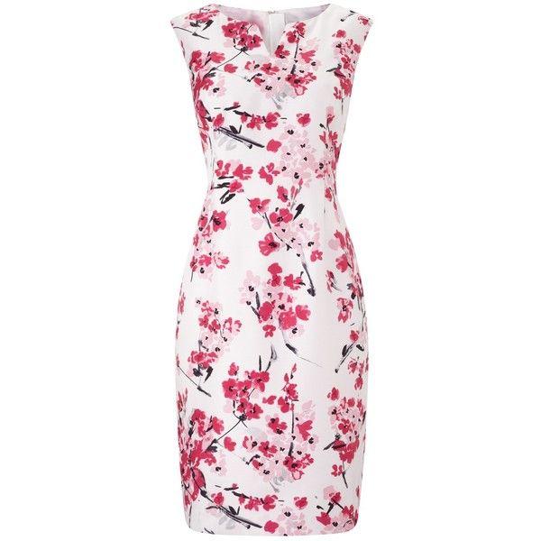 Precis Petite Floral Print Shift Dress, Pink/Multi (€165) ❤ liked on Polyvore featuring dresses, petite, sleeveless shift dress, pink maxi dress, petite evening dresses, floral midi dress and pink cocktail dress