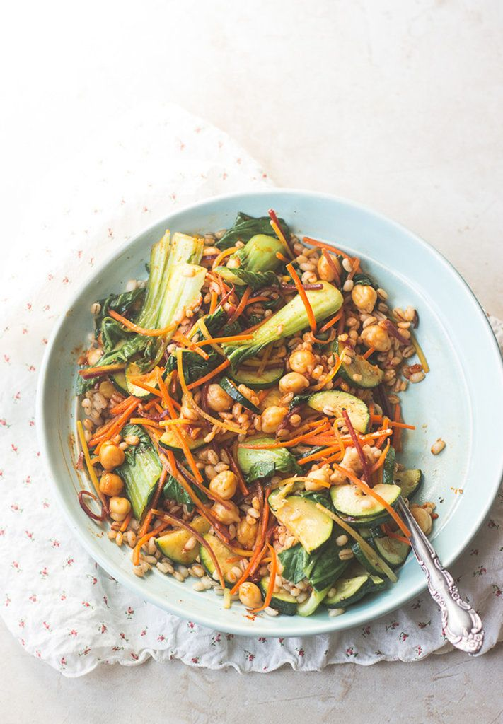 Get the recipe: vegan Korean nourish bowl with barley                  Image Source: MJ and Hungry Man