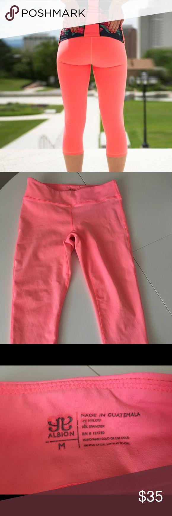 Albion fit go coral capris Size medium, worn just a couple of times. Pink orange color. Albion fit. albion fit Pants Leggings