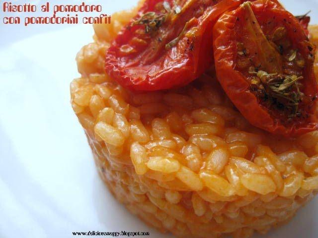 Risotto al pomodoro con pomodorini confit - Red risotto with confit tomatoes