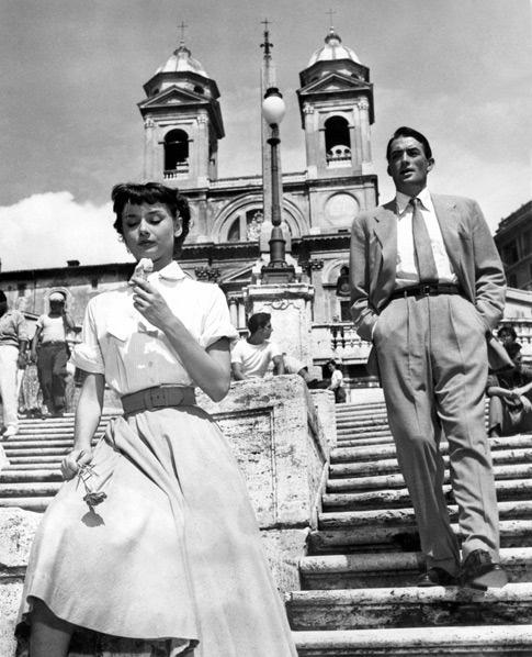 :: Roman Holiday :: Audrey Hepburn @ Piazza di Spagna having a gelato :)