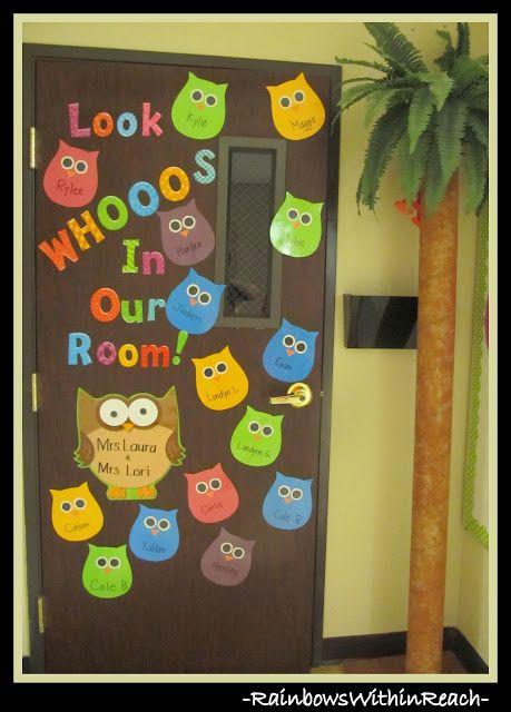 photo of: Classroom Door on Owl Theme w DIY Palm Tree via RainbowsWithinReach