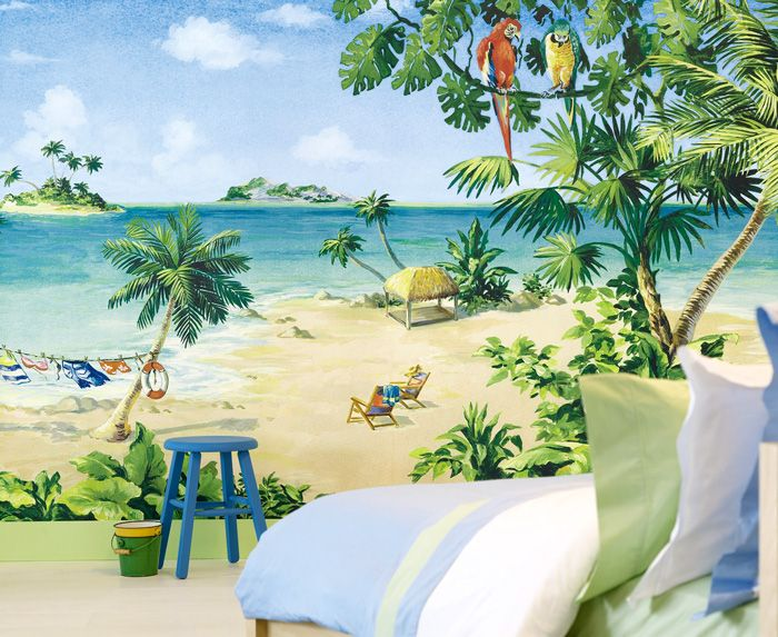 This Bright And Beautiful Mural Is Composed Of Three Panels Combined To  Create One Large Tropical Scenic Mural. You May Wish To Purchase One Panel,  ...