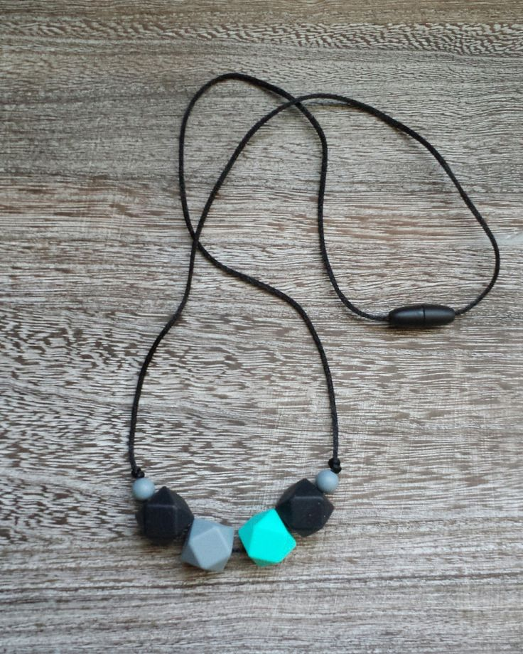 Geometric Bead Silicone Teething Necklace in Black, Turquoise, Grey