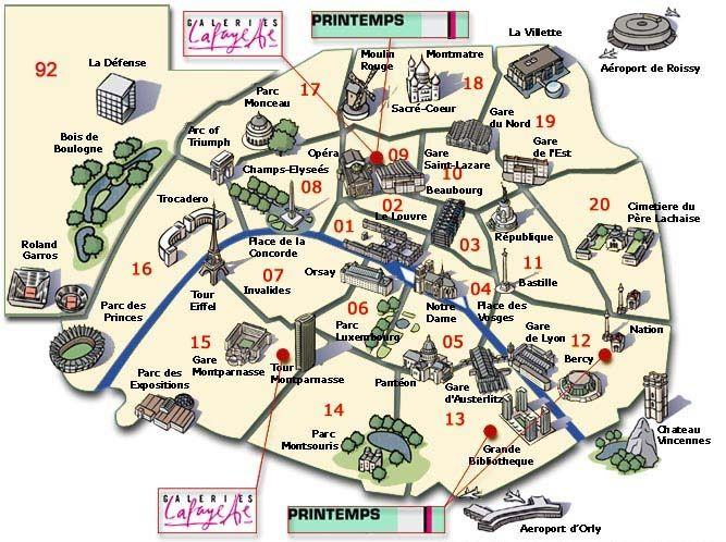 Paris Arrondissements Map Download Map Of Paris With Landmarks Major Tourist Attractions Maps 667 X 498 Paris Tourist Paris Metro Map Paris Map
