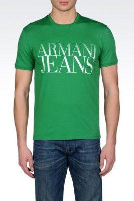Camiseta Armani Jeans Men's Jersey T-Shirt With Logo Print Green #Camiseta #Armani Jeans