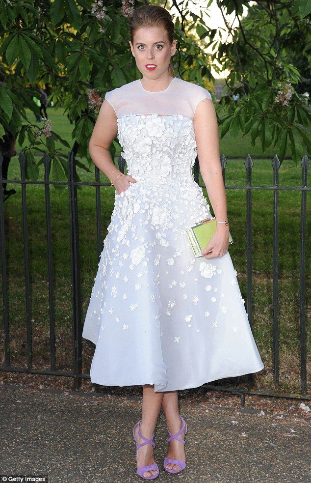 Striking: Princess Beatrice looked stunning in a soft pink and and white embellished gown at the Serpentine Gallery Summer Party in Kensington Gardens