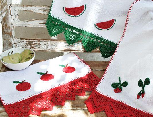 Panos de prato com crochê: Crochet Lace Knits, Crochet Ideas, International Crochet, Temporary Crochet, Crochet Barrado, Crochet Embellishments, Crochet Edge, Crochet Patterns, Crochet Knits