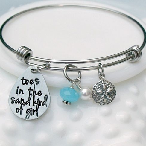 Toes in the Sand Kind of Girl Alex and Ani Style Expandable Beach Bangle Bracelet