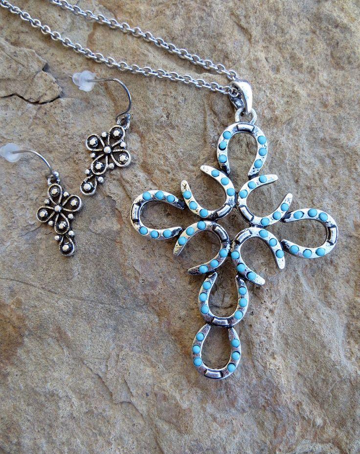 Cowgirl Bling Gypsy Boho Western  Cross HorseshoeTurquoise Necklace set #Unbranded