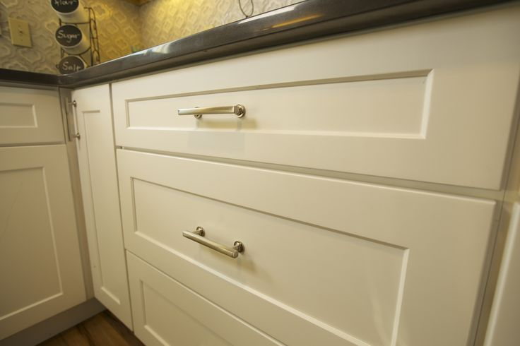 Emtek's Urban Modern Collection Freestone Pull in Satin Nickel as featured on Tiny House Nation