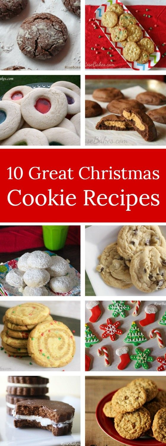 Looking for an easy dessert for a Christmas party, a homemade gift or to leave for Santa with a glass a milk? Here's 10 Great Christmas Cookie Recipes that are sure to be devoured. | RoseBakes.com