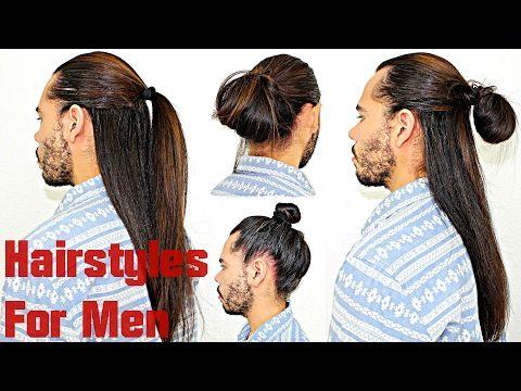 Hairstyles For Men With Long Hair Super Quick & Easy Half Up/Down Manbun Topknot Tutorial - YouTube #naturalhair #hairtip #blackhair #blackhaircare #hairjourney