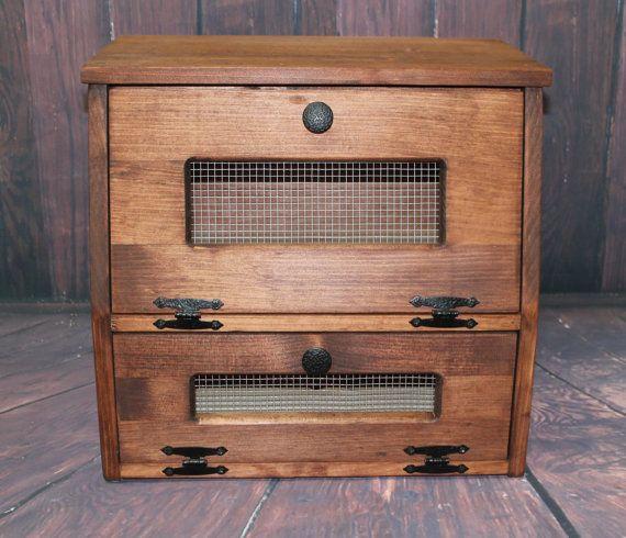 Wood Rustic Bread Box wooden Vegetable Potato Bin Storage Primitive Cupboard Onion Potatoes Country Farmhouse Kitchen Countertop