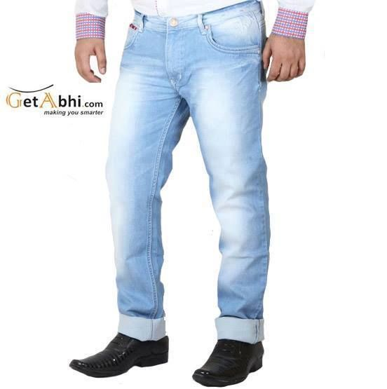 Sky BLue, #5 pocket, mid-rise #jeans, lightly washed and lightly distressed, has a zipped fly and a button closure on the front, waistband with belt loops, scoop pockets on the sides at the front with r