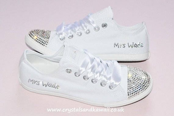 converse wedding shoes | Crystal Wedding Converse Slim White Mono Writing Sides Bridal Shoes ...