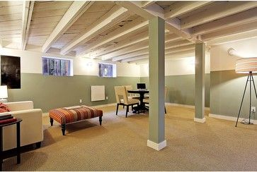 Idea for unfinished DIY exposed basement ceilings with light colors or whitewashed (think about if white-washing would look ok with our metal beams). Like the color blocking idea with upper color blending with ceiling. Could finish the beams like this or like the white wood beams I pinned. Nice open layout but would want more storage.