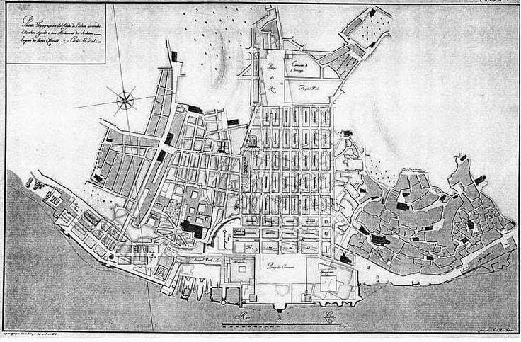 """Terreiro do Paço - (1760) (Planta da """"BAIXA POMBALINA"""" - Plano Nº 5 apresentado por EUGÉNIO DOS SANTOS e CARLOS MARDEL ao concurso da reconstrução da cidade de LISBOA após o terramoto de 1755) in ORDEM DOS ENGENHEIROS"""