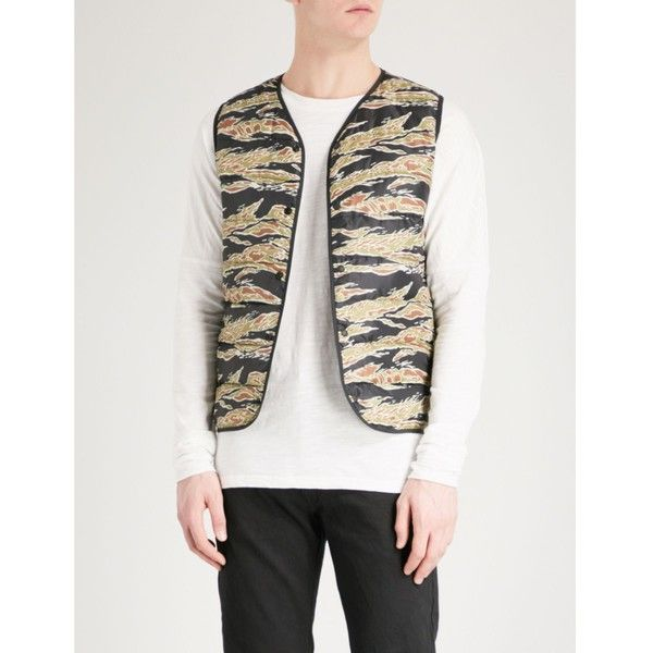 STAMMBAUM Camouflage-print shell-down gilet ($405) ❤ liked on Polyvore featuring men's fashion, men's clothing, men's outerwear, men's vests, mens v neck vest, mens sleeveless vest, mens white vest, mens padded vest and mens camo vest