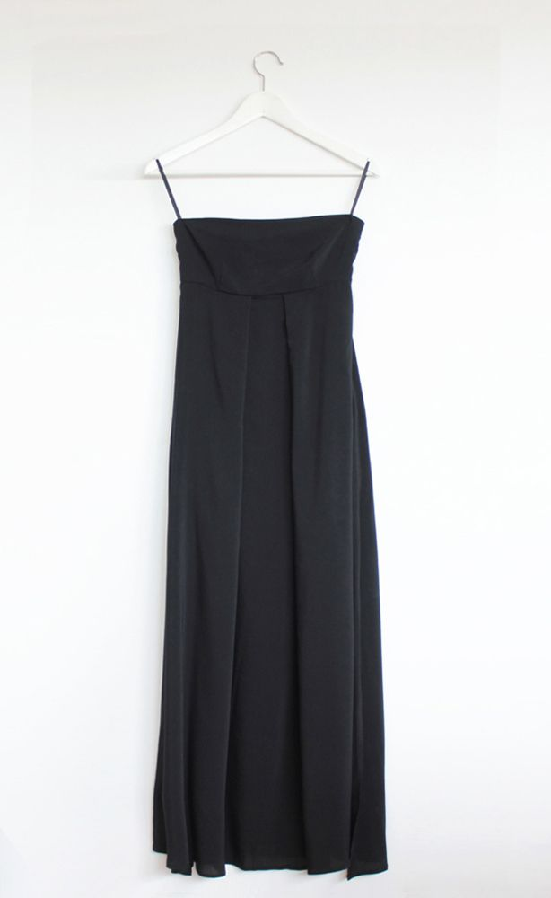 Strapless long dress with pockets