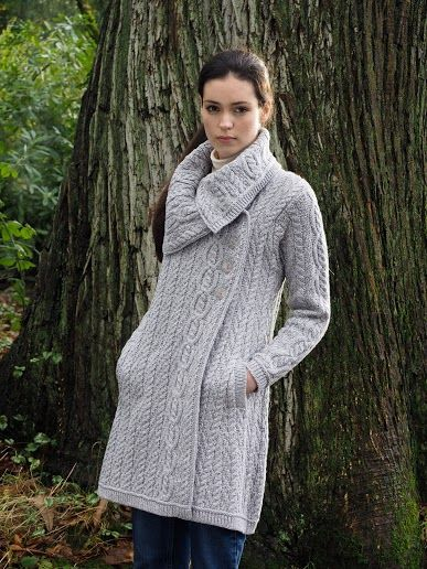 Ladies Large Collar Coat with side Buttons by Natallia Kulikouskaya for Aran Crafts of Ireland