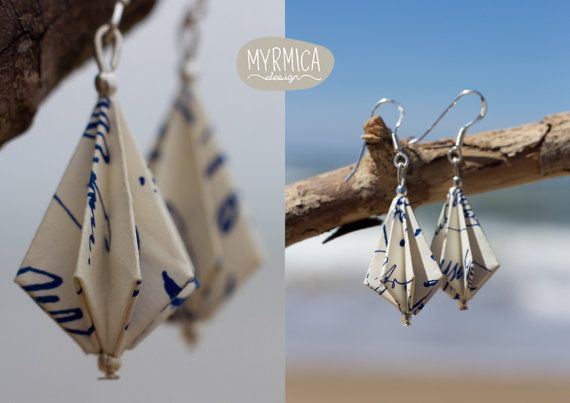 Items similar to Pendant origami paper earrings with sterling silver hook. Resistant, original, handmade. on Etsy