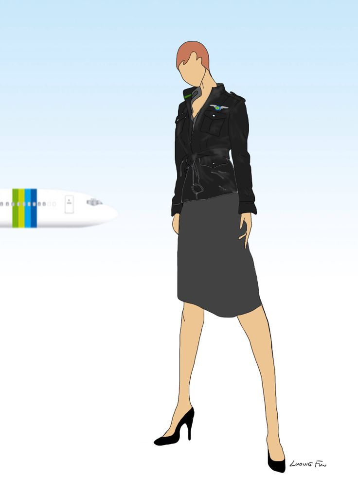 Design concept for transavia.com's upcoming new cabin crew uniforms. Ladies' black leather aviator jacket with green detail .