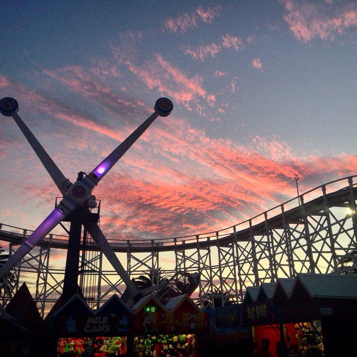 Sunset over Luna Park Melbourne.