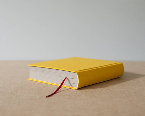 Handmade Thick Yellow Hardcover Round Spine Notebook  Square