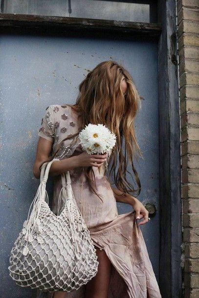 Dress: slit boho embellished dusty pink pink slit boho bag maxi bag summer outfits beach bag wavy