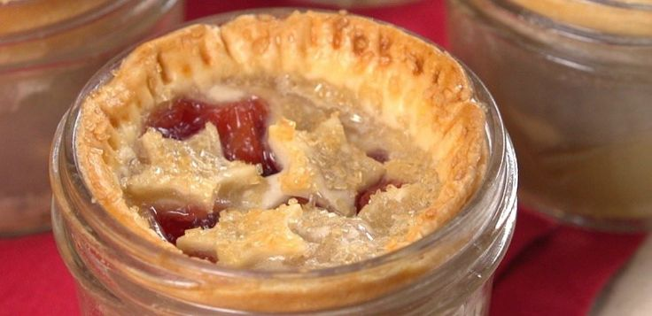 Close-up of miniature pie baked in mason jar