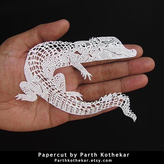 #intricate #miniature #papercut #crocodile #cub #handcut #paper #craft #art #papercuts #papercraft  #illustration #follow #etsy #shop #parthkothekar #etsyseller #etsyshop
