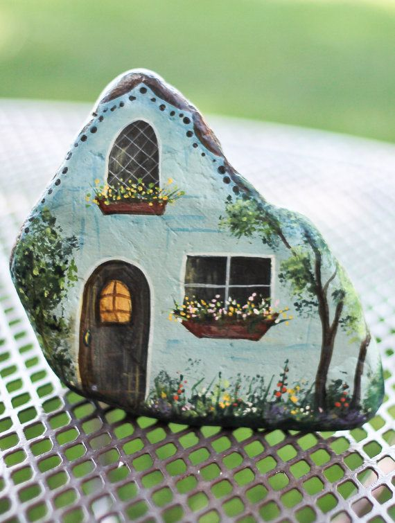 Hand Painted Blue Rock House. Beautifully Detailed. Perfect For Fairy Or  Gnome Garden