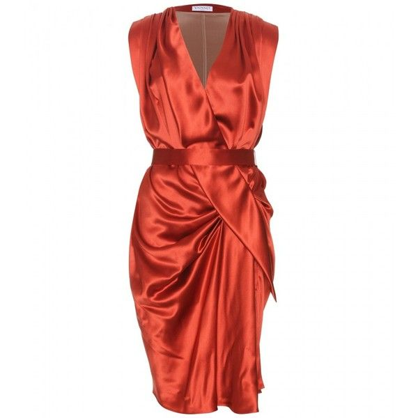 Vionnet Silk Dress With Draping ($618) ❤ liked on Polyvore featuring dresses, vestidos, short dresses, orange, silk mini dress, red silk dress, red mini dress and orange mini dress
