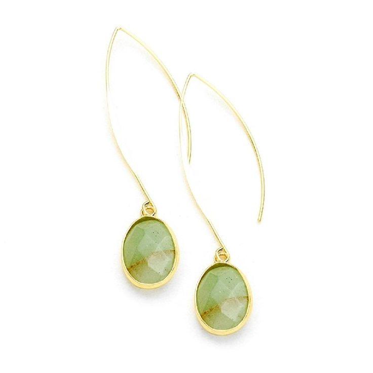 Green Oval Semi-Precious Long Fish Hook Earrings