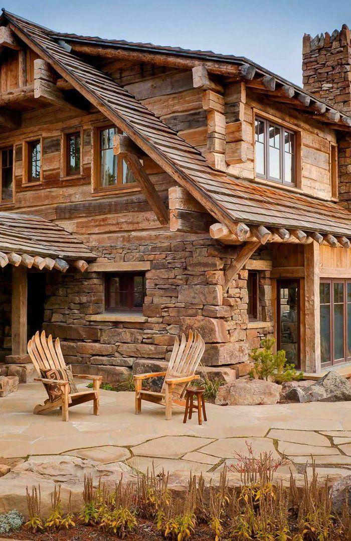 une jolie maison avec murs en pierre, jolie maison en bois dans la montagne